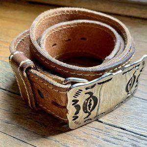 VINTAGE Western Navajo Leather Belt